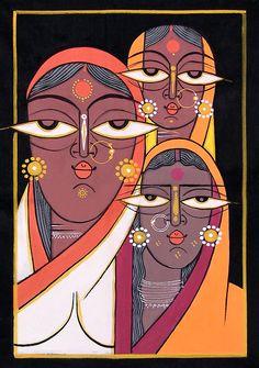 Three Vaishnavis - Krishna Devotees - Folk Art Paintings (Jamini Roy Painting Reproduction on Cloth - Unframed) Bengali Art, Rajasthani Art, Madhubani Art, Madhubani Painting, Arte Tribal, Tribal Art, Indian Folk Art, Indian Artist, Indian Contemporary Art