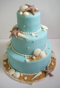Light blue cake with white chocolate 'seashells'. Really easy, because you can buy chocolate seashells from a shop.