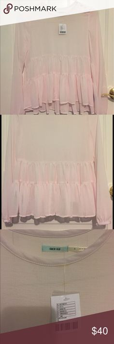 """*NEW* Urban Outfitters Babydoll Long Sleeve Shirt This is a light pink long sleeve shirt from Urban Outfitters with the classic """"babydoll"""" style, which has the ruffles on the bottom. NEW WITH PRICETAG & NEVER BEEN WORN Urban Outfitters Tops"""