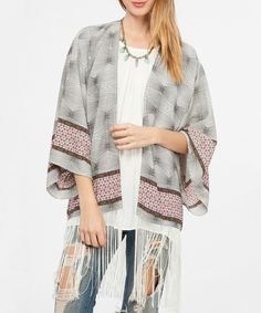 Look at this Black & White Geometric Open Cardigan on #zulily today!