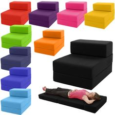 Single Chair Bed Z Guest Fold Out Futon Sofa Chairbed Lounger Matress foam Gilda in Home, Furniture & DIY, Furniture, Sofas, Armchairs & Suites   eBay