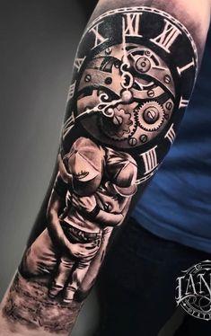 roman numeral tattoo font, large clock, boy and man hugging, forearm tattoo tattoo hombre ▷ 1001 + ideas for a simple but meaningful roman numeral tattoo Father Daughter Tattoos, Father Tattoos, Family Tattoos, Tattoos For Daughters, Best Sleeve Tattoos, Tattoo Sleeve Designs, Tattoo Designs Men, Roman Numeral Tattoo Font, Roman Numerals