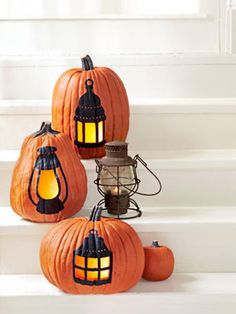 22 Pumpkin Decorating Ideas Your House Needs- It's never too early to start carving those pumpkins and setting up your home for the much anticipated night of Halloween. Whether you want a traditional jack-o-lantern or orange sparkles to hang from your chandelier, you will get into the holiday spirit and have fun with these fall decorating ideas. Enjoy these personalized DIY crafts and many more fall activities at redbookmag.com!