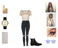 """""""Natalie"""" by annie-stylesx ❤ liked on Polyvore featuring Topshop, tarte, Ray-Ban, Balenciaga and Marc by Marc Jacobs"""