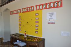 Beyblade battle bracket with all the party goers names. Medals for participating and a trophy for the winner