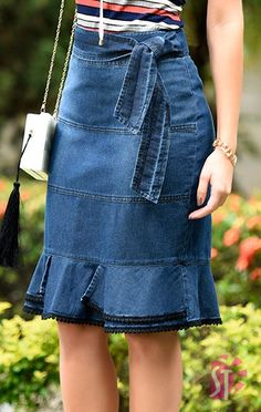 Paperbag Waist Denim Skirt With Belt [Sk - Diy Crafts - Marecipe Denim Skirt Outfits, Denim Outfit, Denim Fashion, Womens Fashion, Mode Jeans, Trendy Swimwear, Jeans Rock, Dress Skirt, Models