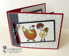 These fun Pop & Twist cards are amazing and so fun! They are unique and interactive; it's hard to stop playing with them!  I chose to use the new Sale-a-Bration 'Hey Chick' stamp set to make mine. The