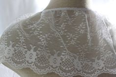 White Ruffle Lace with flower motiffs and by CreationsbyLSM, $2.35