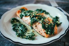 Roasted Salmon with Creamy Greens - The Crepes of Wrath