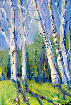 New England  Birch Tree Painting Original Mixed by CarlottasArt