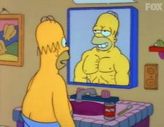 New party member! Tags: homer simpson the simpsons simpsons homer fat muscles goals body image buff daydreaming
