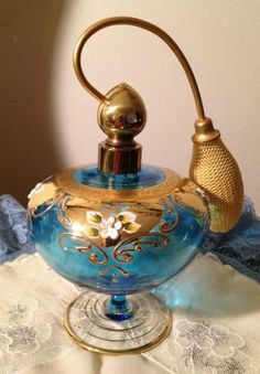 Vintage Bohemian Czech Blue Glass