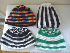 """Mixed Lot Of 4 Crocheted Type Of Beanie Hats """" GREAT LOT """" #Unbranded"""