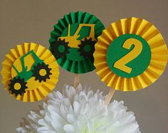 tractor cupcake toppers rosettes / tractor theme / construction theme - any age Red Tractor Birthday, Tractor Cupcakes, December Birthday, Construction Birthday, 2nd Birthday Parties, Cupcake Toppers, Tractors, First Birthdays, Baby Shower