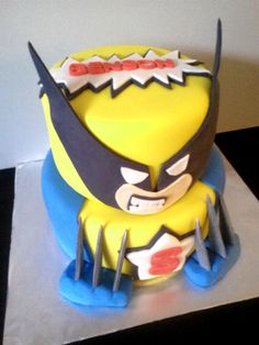 Wolverine Cake Superhero Custom Birthday Cake Baby by Devany