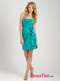 Strapless turqouise side ruffle bridesmaids dress