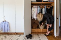 """Jessica pulls items from her enviable closet, whichincludes favorite designers such asThe Row, Celine, Isabel Marant, and Lanvin. The fashion stylist uses straw and metal baskets to corral belts, sunglasses, and accessories. Hermès ashtrays are catchalls for jewelry. """"I am constantly editing everything,"""" she says."""