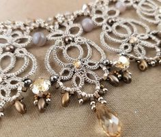 Victoria necklace needle tatting kit and tutorial step by
