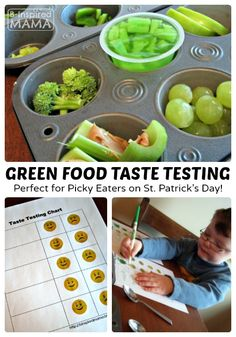 Green Food Taste Testing for Picky Eaters on St. Patrick's Day [with a FREE Printable Taste Test Chart] at B-Inspired Mama