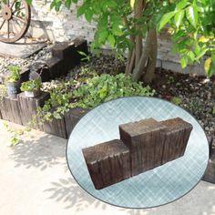 花壇の仕切りや土留め・囲い用の枕木風のレンガ軽量ブロック。。花壇 枕木 コンクリート 枕木 花壇 材 仕切り で 簡単花壇の枕木 ブロック ガーデニング資材