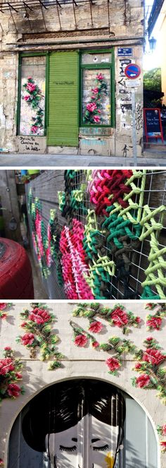 Floral Cross-Stitch Street Installations by Raquel Rodrigo More