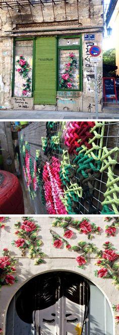 Floral Cross-Stitch Street Installations by Raquel Rodrigo (Cool Art Street) Street Installation, Light Installation, Instalation Art, Urbane Kunst, Yarn Bombing, Art Plastique, Public Art, Textile Art, Cross Stitch Embroidery