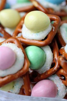 Reese's Peanut Butter Egg, Pretzels, and White Chocolate No-Bake Easter Candy.