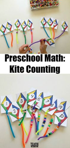 via Preschoolers love to do counting activities. This kite themed preschool math activity is lots of fun for little ones learning to count! They get to add the tails to the kites and count the number Preschool Math- Kite Counting Preschool Classroom, Preschool Learning, Teaching Math, Preschool Crafts, Letter K Preschool, Preschool Centers, Math Literacy, Free Preschool, Preschool Themes