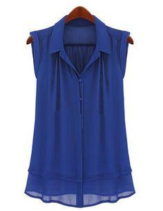 Royal Blue Lapel Sleeveless Buttons Chiffon Blouse 16.90
