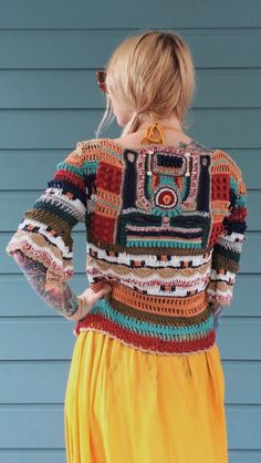 Image may contain: one or more people and people standing Crochet Bolero, Diy Crochet And Knitting, Crochet Jacket, Freeform Crochet, Crochet Woman, Crochet Cardigan, Crochet Clothes, Knit Crochet, Crochet Designs