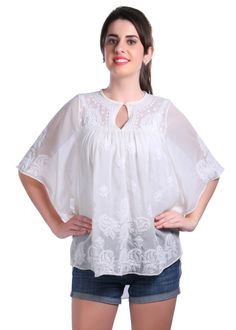 Ladies Poncho Indian Handcraft / Hand embroidered Chikankari Georgette Poncho tunic Kurtis/Top beach cover boho for women Indian handwork by on Etsy Simple Kurta Designs, Kurtis Tops, Indian Tops, Ladies Poncho, Western Dresses, Western Wear, Poncho Tops, India Fashion, Ethnic Fashion