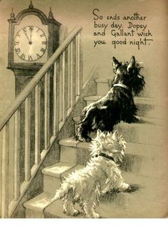 """So ends another busy day. Dopey and Gallant wish you a good night.""  (1937) A print from the book 'Dopey & Gallant .... A day in the life of two curious little dogs' by British author Marjorie Turner. Raphael Tuck & Sons Ltd Publishers."