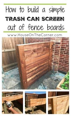 How to build a trash can screen out of regular fence boards. #DIY #outoor #homedecor ways to hide an ugly trash can, cheap privacy screen, how to hide your trash can, how to hide an eyesore, hide outdoor clutter, outdoor storage, easy DIY projects, thrifty projects.