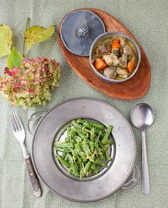 curries turkey stew with mushrooms and carrots and green bean salad ...