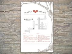 This is a cool idea.  I think I could make something similar. - Custom Crossword  printable for wedding/bridal by SeaOfLoveStudios, $20.00