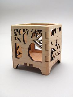 Votive Candle Holder Tree of Life in Maple - Modern Rustic Design - Sustainable Harvest Wisconsin Wood . Timber Green Woods. $27.95, via Etsy.