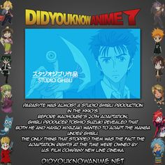 Parasyte was almost a Studio Ghibli production in the 1990's.  Before Madhouse's 2014 adaptation, Ghibli producer Toshio Suzuki revealed that both he and Hayao Miyazaki wanted to adapt the manga under Ghibli.   The only thing that stopped them was the fact the adaptation rights at the time were owned by U.S. film company New Line Cinema.