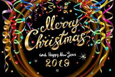vector Colorful festive illustration for celebratory party and decoration black background - golden Merry Christmas and Happy New Year 2019 gold. Christmas Images Clip Art, Merry Christmas Images Free, Happy Thanksgiving Images, Merry Christmas And Happy New Year, Merry Xmas, Christmas Pics, Christmas 2019, Happy Easter Photos, Happy Easter Greetings