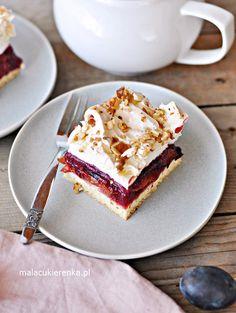 Ciasto Śliweczka z Bezą i Orzechami - PRZEPIS - Mała Cukierenka Catering, French Toast, Food And Drink, Birthday Cake, Tasty, Cookies, Baking, Breakfast, Sweet