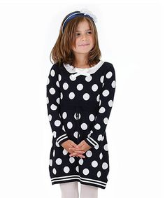 Another great find on #zulily! Navy Polka Dot Sweater Dress - Toddler & Girls by Dolce Liya #zulilyfinds