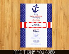 First Birthday or Party Invitation Nautical by BCanvasCreative