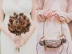 Pine Cone Bridesmaid Bouquets and Flower Girl Basket