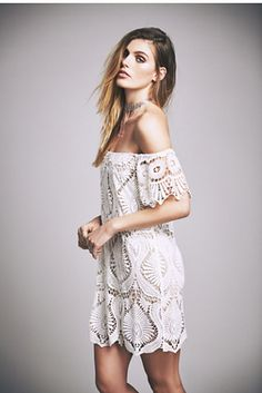 Sagrada Dress | American made off-the-shoulder crochet lace dress featuring beautiful scalloped trim and sheer sleeves..