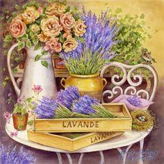 Lavender in painting. Discussion on LiveInternet - Russian Service Online Diaries Decoupage Vintage, Decoupage Paper, Art Floral, Vintage Prints, Vintage Art, Diy Image, Stencil, Foto Transfer, Country Paintings
