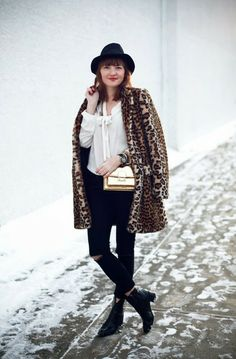 leopard coat and hat