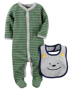 e6a275305099 Carter's 2 Piece Green/Navy Snap Front Footie with Grey Monster Embroidered  Bib Set