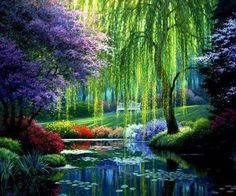 "The wispy trees in Monet's Garden, Giverny, France. Giverny sits on the ""right bank"" of the River Seine where the river Epte meets the Seine, and is the home of French impressionist painter Claude Monet."