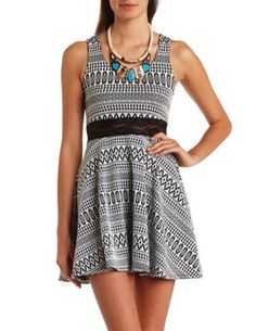 Fair Isle Lace-Waisted Skater Dress: Charlotte Russe