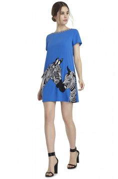 LYNN EMBELLISHED SHIFT DRESS in UMBRELLA BLUE/ZEBRA MULTI by Alice + Olivia