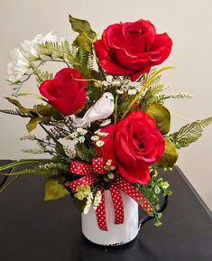 Valentines Day Floral Red Roses and Mixed Greenery White Bird Arrangement in Large Distressed White Valentines Flowers, Valentines Day Decorations, Valentines For Kids, Valentine Bouquet, Valentine Nails, Valentine Ideas, Valentine's Day Flower Arrangements, Artificial Floral Arrangements, Greenery Centerpiece